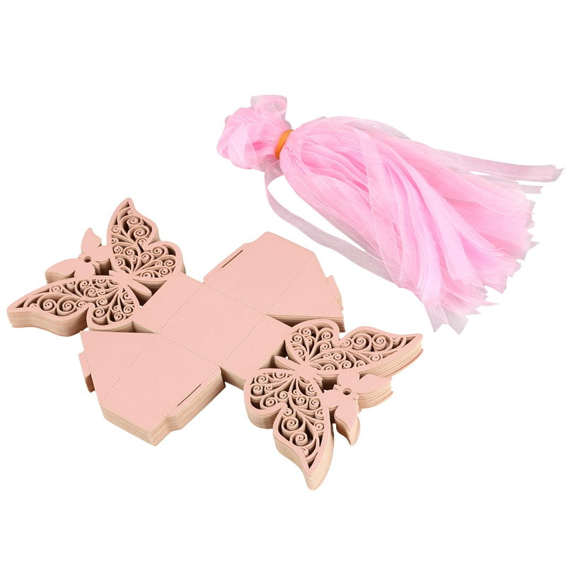 50pcs-Butterfly-Wedding-Favour-Box-Birthday-Party-Gifts-Candy-Boxes-Pink-J4I6 thumbnail 4