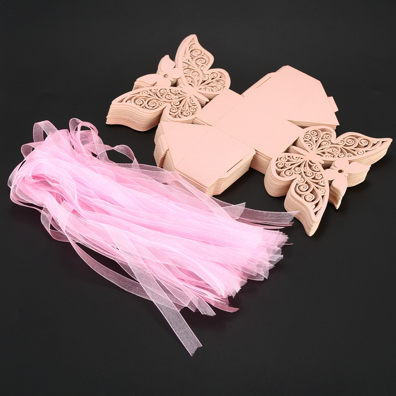 50pcs-Butterfly-Wedding-Favour-Box-Birthday-Party-Gifts-Candy-Boxes-Pink-J4I6 thumbnail 5