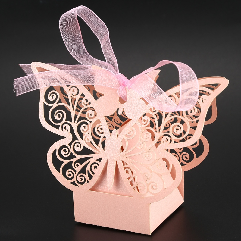 50pcs-Butterfly-Wedding-Favour-Box-Birthday-Party-Gifts-Candy-Boxes-Pink-J4I6 thumbnail 7