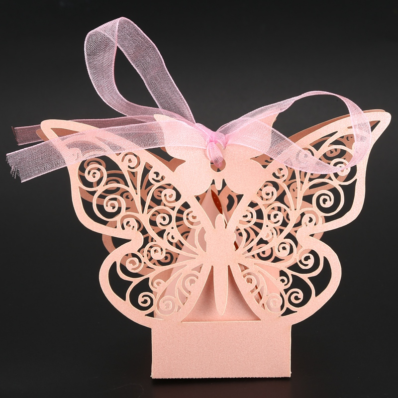 50pcs-Butterfly-Wedding-Favour-Box-Birthday-Party-Gifts-Candy-Boxes-Pink-J4I6 thumbnail 8