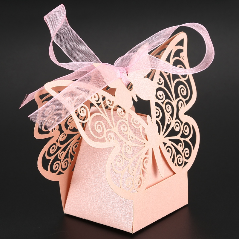 50pcs-Butterfly-Wedding-Favour-Box-Birthday-Party-Gifts-Candy-Boxes-Pink-J4I6 thumbnail 9