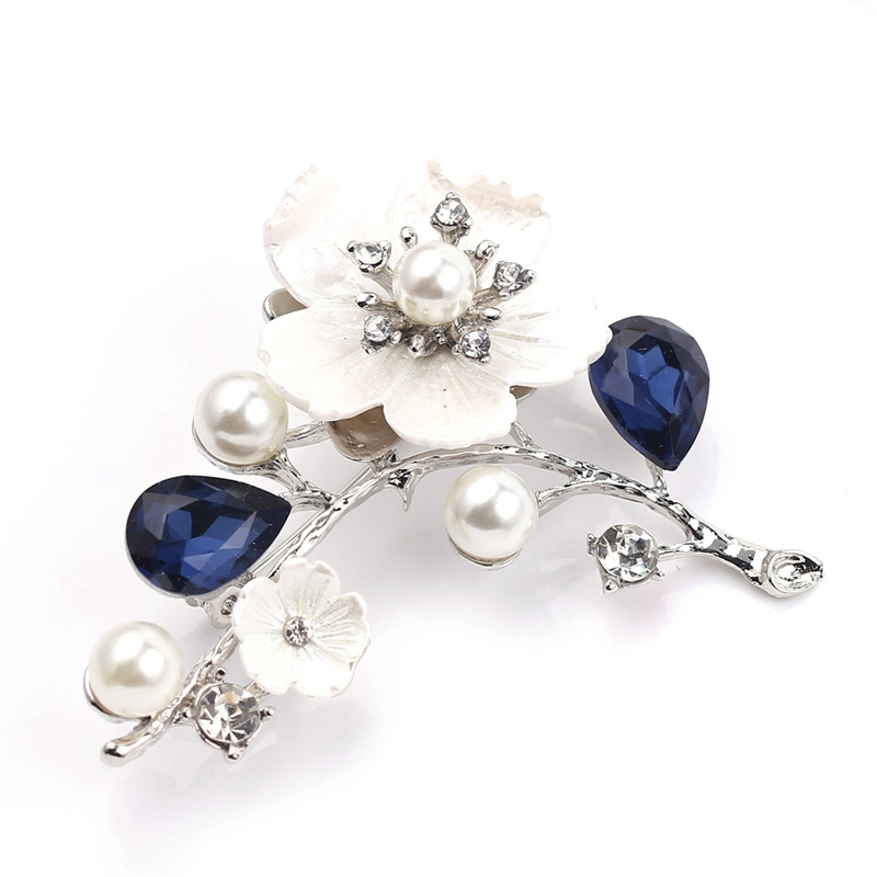 2X-Natural-Shell-Flower-Brooch-Vintage-Blue-Glass-Crystal-Brooch-O9A6 thumbnail 4