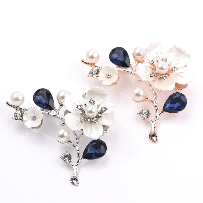 2X-Natural-Shell-Flower-Brooch-Vintage-Blue-Glass-Crystal-Brooch-O9A6 thumbnail 8