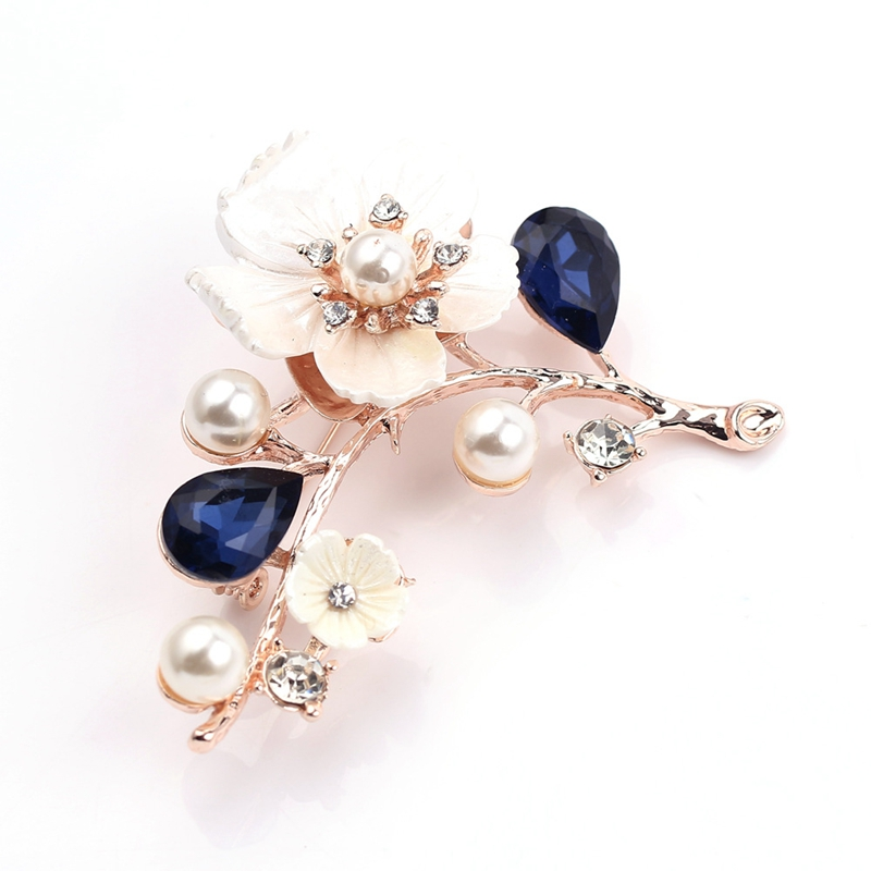 2X-Natural-Shell-Flower-Brooch-Vintage-Blue-Glass-Crystal-Brooch-O9A6 thumbnail 12