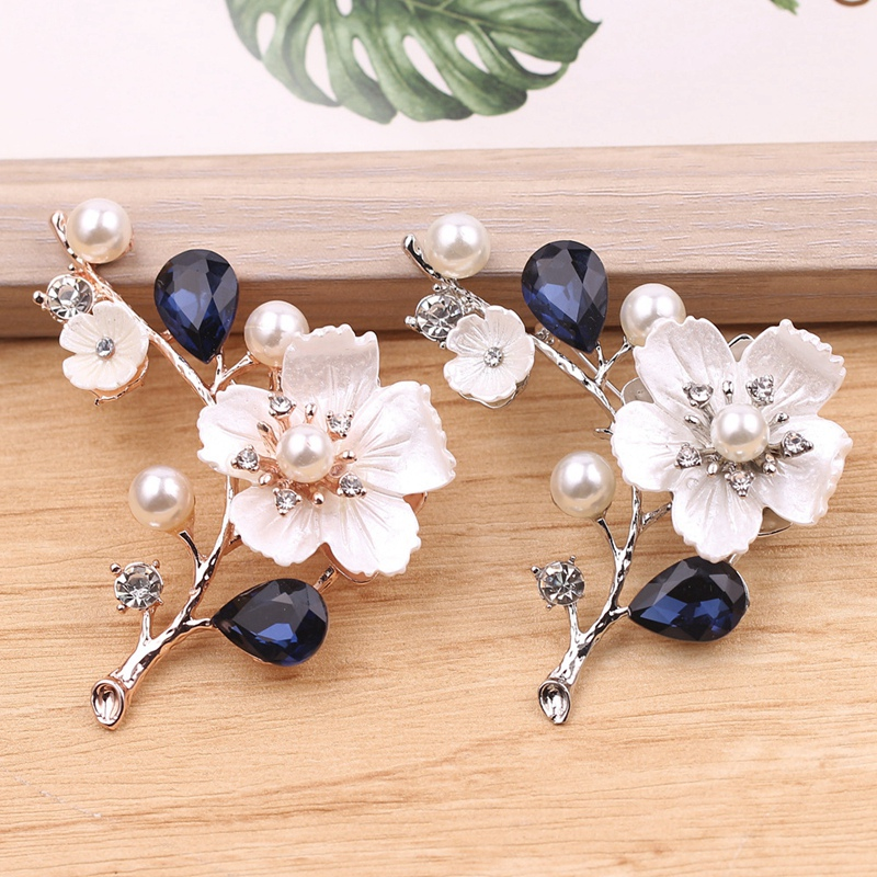 2X-Natural-Shell-Flower-Brooch-Vintage-Blue-Glass-Crystal-Brooch-O9A6 thumbnail 13