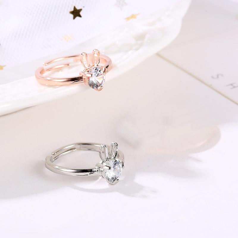 Anneaux-Animaux-A-La-Mode-En-Strass-Pour-Femme-Anneaux-Lapin-De-Cristal-Bla-J1Z3 miniature 6