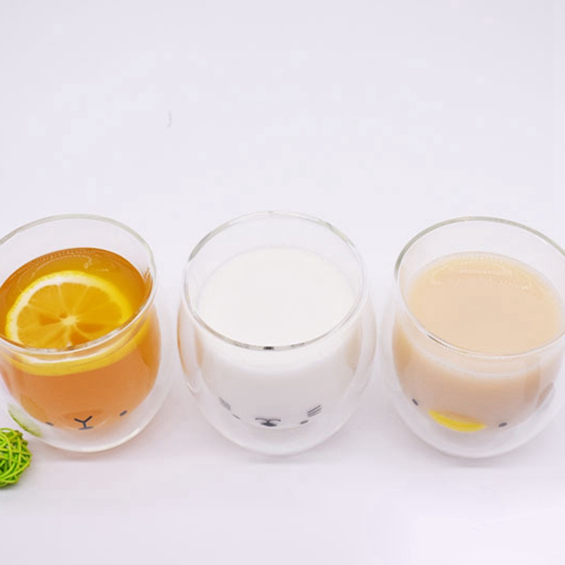 Double-Layer-Coffee-Cup-Glass-And-Mug-Cute-Animal-Tumbler-Handmade-Mug-Line-G8V2 thumbnail 5