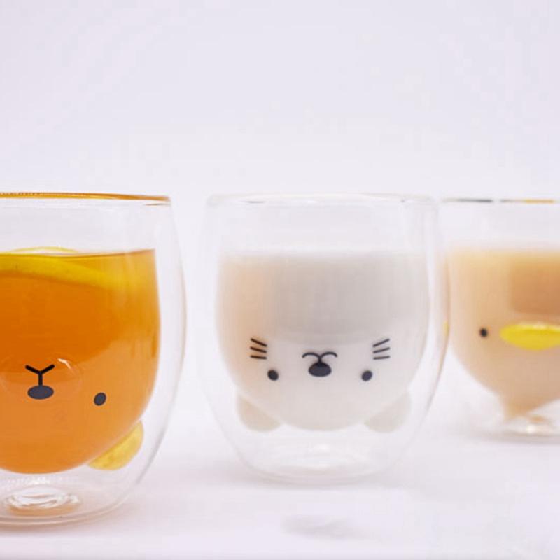 Double-Layer-Coffee-Cup-Glass-And-Mug-Cute-Animal-Tumbler-Handmade-Mug-Line-G8V2 thumbnail 6