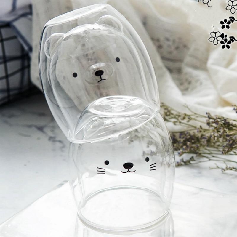 Double-Layer-Coffee-Cup-Glass-And-Mug-Cute-Animal-Tumbler-Handmade-Mug-Line-G8V2 thumbnail 7