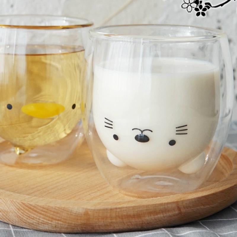 Double-Layer-Coffee-Cup-Glass-And-Mug-Cute-Animal-Tumbler-Handmade-Mug-Line-G8V2 thumbnail 8