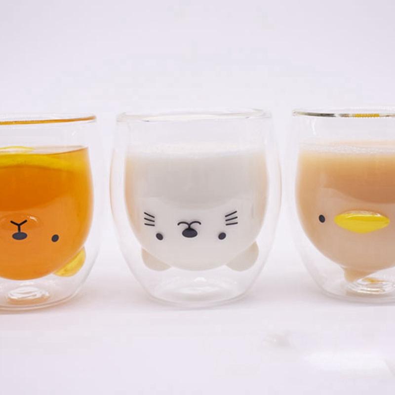 Double-Layer-Coffee-Cup-Glass-And-Mug-Cute-Animal-Tumbler-Handmade-Mug-Line-G8V2 thumbnail 11