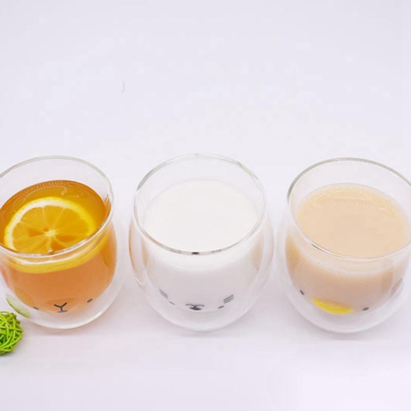 Double-Layer-Coffee-Cup-Glass-And-Mug-Cute-Animal-Tumbler-Handmade-Mug-Line-G8V2 thumbnail 12