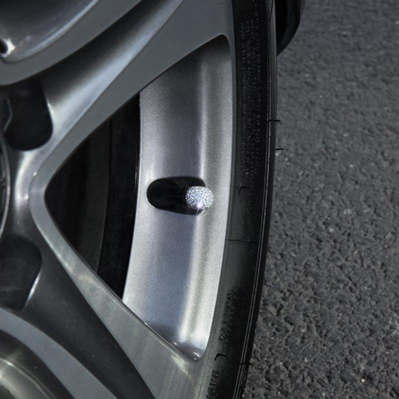1X-1-Satz-Von-4-Weichen-Ton-Strass-Auto-Reifen-Bonnet-Diamant-Glaenzend-StauW7W1 Indexbild 4