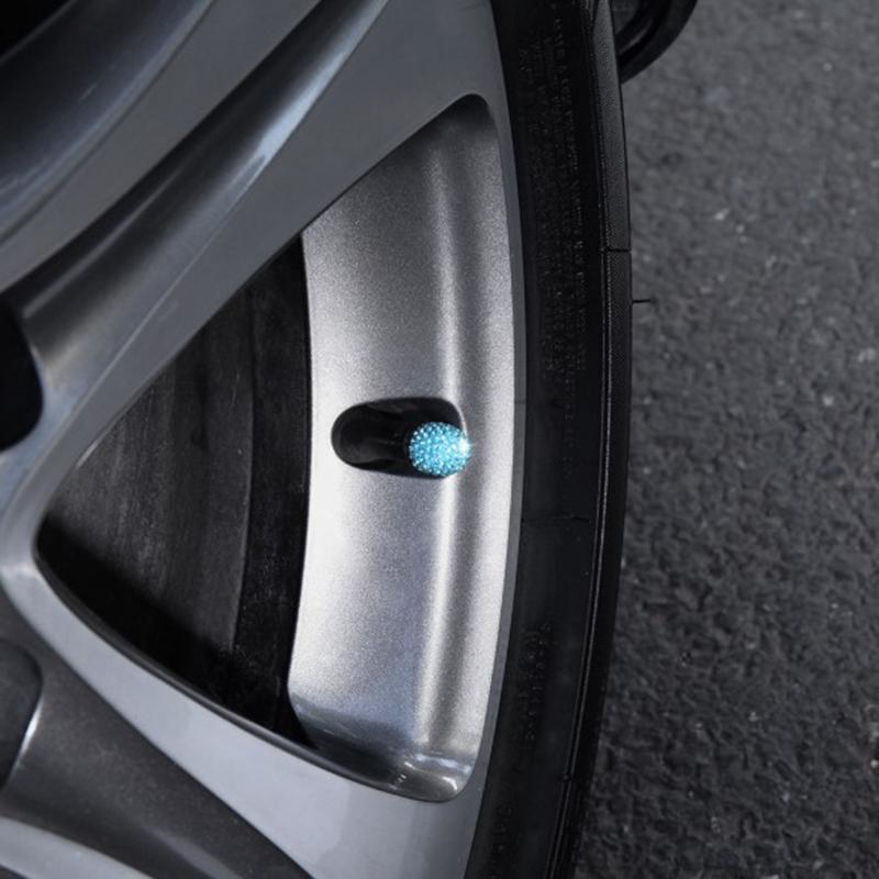 1X-1-Satz-Von-4-Weichen-Ton-Strass-Auto-Reifen-Bonnet-Diamant-Glaenzend-StauW7W1 Indexbild 7