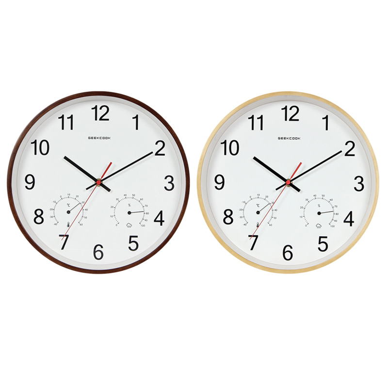 Geekcook 12 Inch Classic Wooden Wall Clocks Silent Quartz Thermometer Hygro V5Z1
