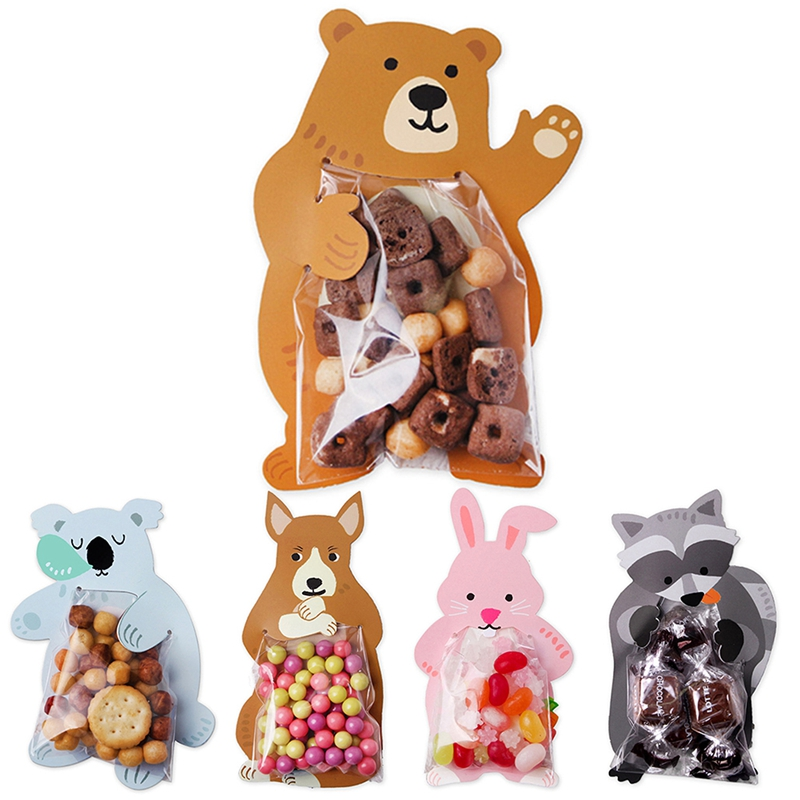 10PCS//Lot Cookie Candy Gift Bag Cute Animal Greeting Card Baby Shower Party Bags
