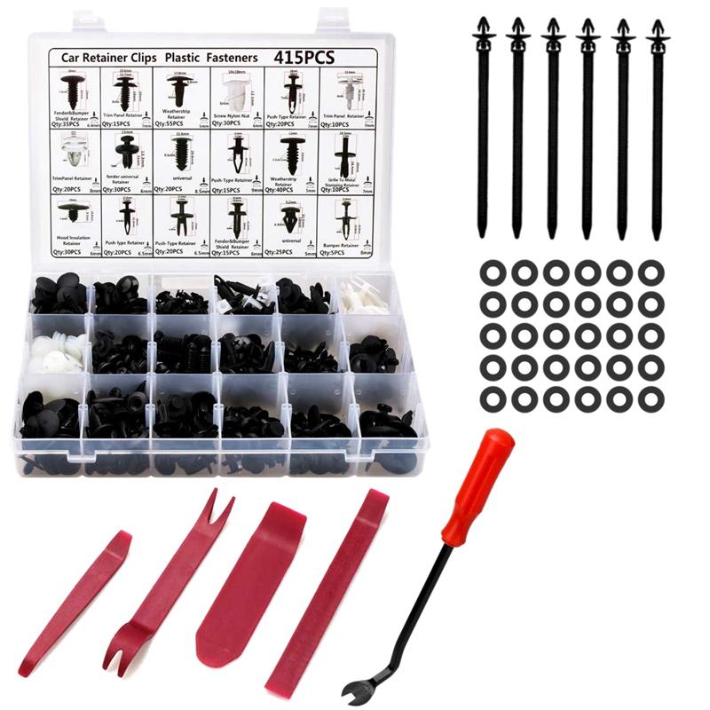 Clip di fissaggio per auto Kit di fissaggio in plastica Clip di fissaggio per rivetti con perno a pressione per auto