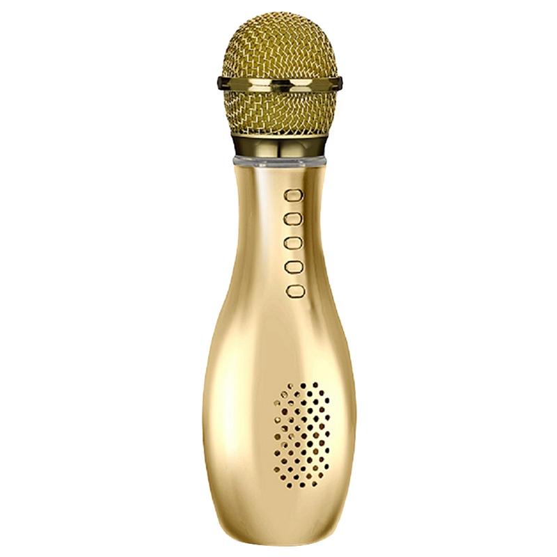 Flash-Led-Karaoke-Microfono-Altoparlante-Bluetooth-Senza-Fili-Mic-Bottiglia-J6N5