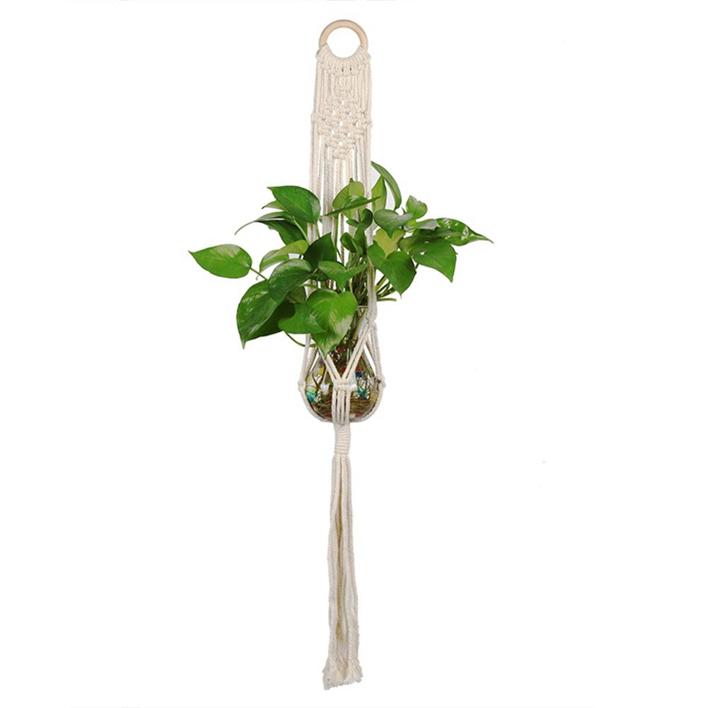 Macrame-Plant-Hanger-Plant-Hangers-Indoor-Wall-Hanging-Planter-Holder-L1P6 thumbnail 3