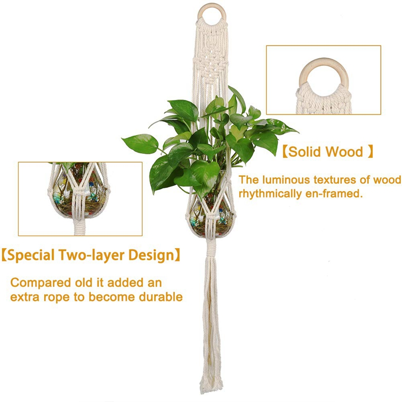 Macrame-Plant-Hanger-Plant-Hangers-Indoor-Wall-Hanging-Planter-Holder-L1P6 thumbnail 4