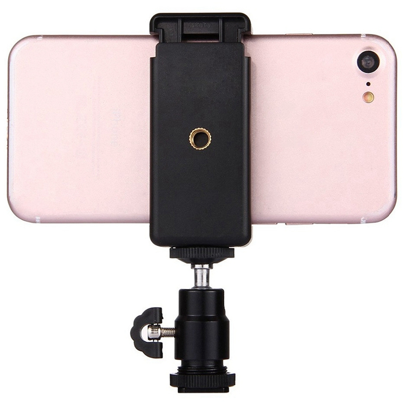 2 In 1 Mobile Phone Clip Holder 360 Ball Head Hot Shoe Adapter Mount Fit Fo F3O0 5