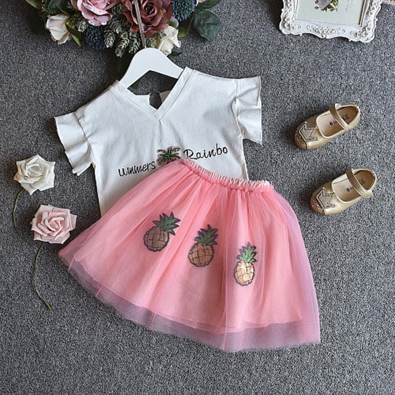 1X-Nette-Baby-Maedchen-Kleidung-Sets-Sommer-Kurzarm-Strass-Pailletten-Ananas-V3X5 Indexbild 3
