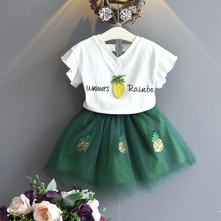 1X-Nette-Baby-Maedchen-Kleidung-Sets-Sommer-Kurzarm-Strass-Pailletten-Ananas-V3X5 Indexbild 13