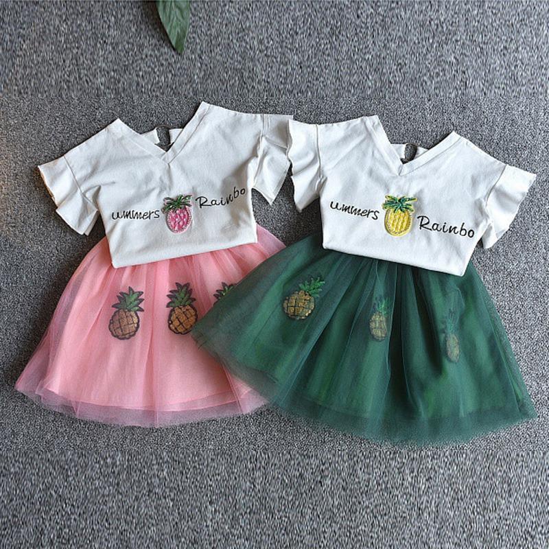 1X-Nette-Baby-Maedchen-Kleidung-Sets-Sommer-Kurzarm-Strass-Pailletten-Ananas-V3X5 Indexbild 21