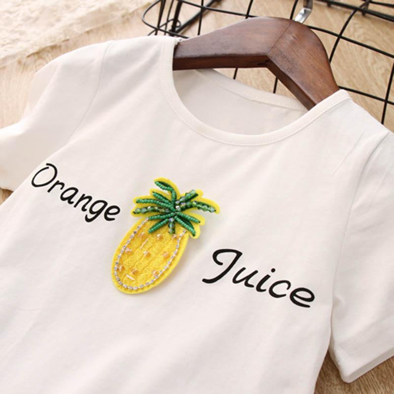Nette-Baby-Maedchen-Kleidung-Sets-Sommer-Kurzarm-Ananas-Druck-T-Shirts-Und-S-W6T6 Indexbild 9