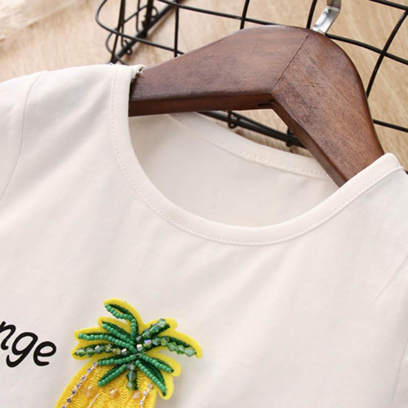 Nette-Baby-Maedchen-Kleidung-Sets-Sommer-Kurzarm-Ananas-Druck-T-Shirts-Und-S-W6T6 Indexbild 10