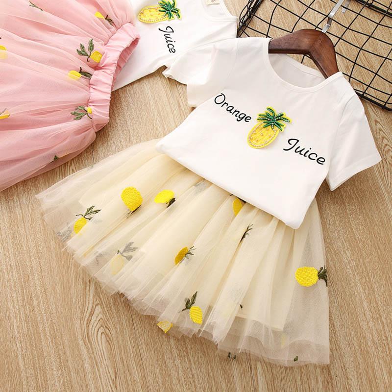 Nette-Baby-Maedchen-Kleidung-Sets-Sommer-Kurzarm-Ananas-Druck-T-Shirts-Und-S-W6T6 Indexbild 13