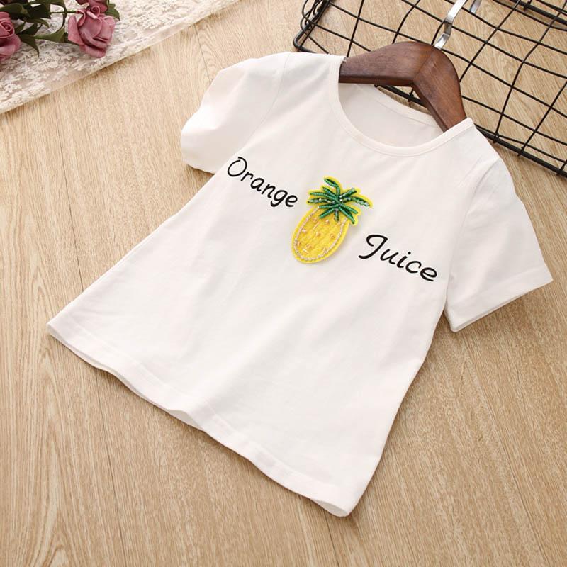 Nette-Baby-Maedchen-Kleidung-Sets-Sommer-Kurzarm-Ananas-Druck-T-Shirts-Und-S-W6T6 Indexbild 14
