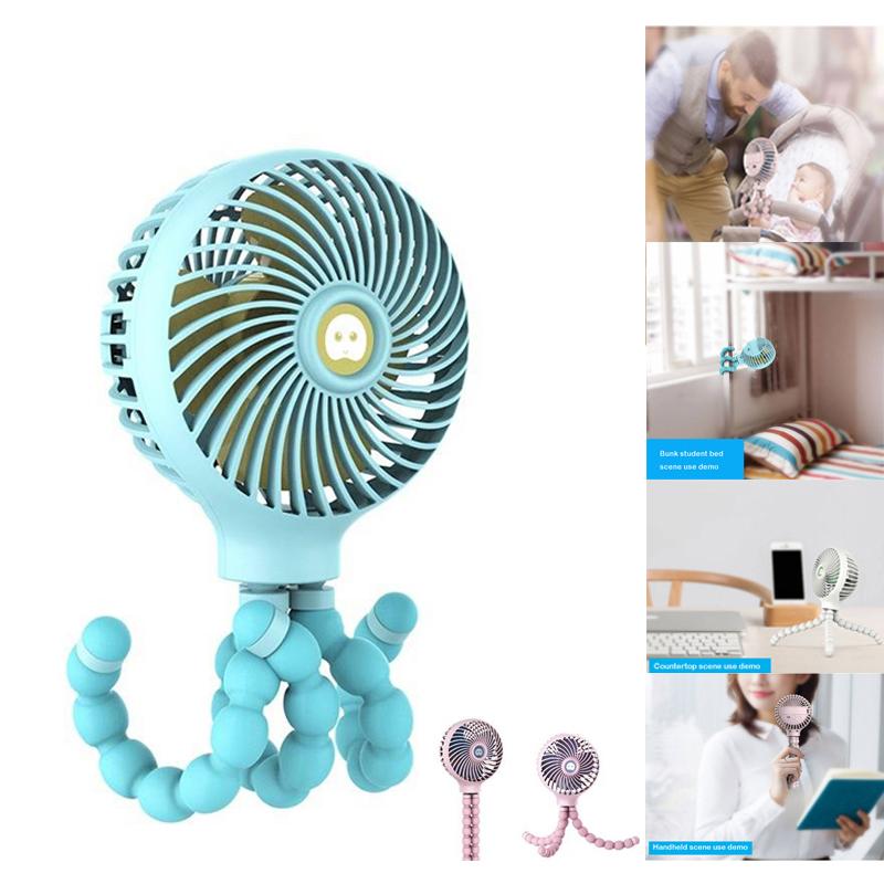 Windable-Ventilateur-A-Main-Avec-Batterie-Rechargeable-3-Vitesses-Mini-Vent-Z7W3 miniature 3