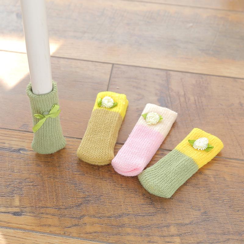4Pcs-Chair-Leg-Socks-Cloth-Floor-Protection-Knitting-Wool-Socks-Anti-Slip-T-I5L2 thumbnail 5