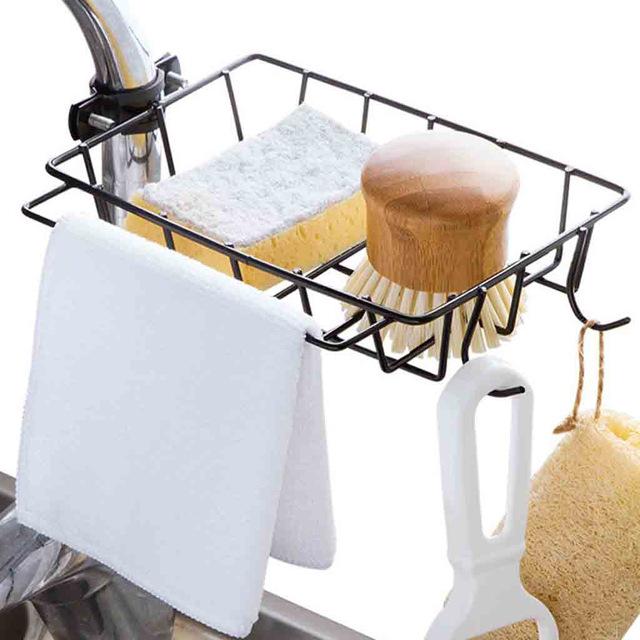 1X-Kitchen-EVier-EPonge-Drain-Rack-Robinet-De-Fer-Rack-De-Stockage-De-Pisci-J5G2 miniature 3