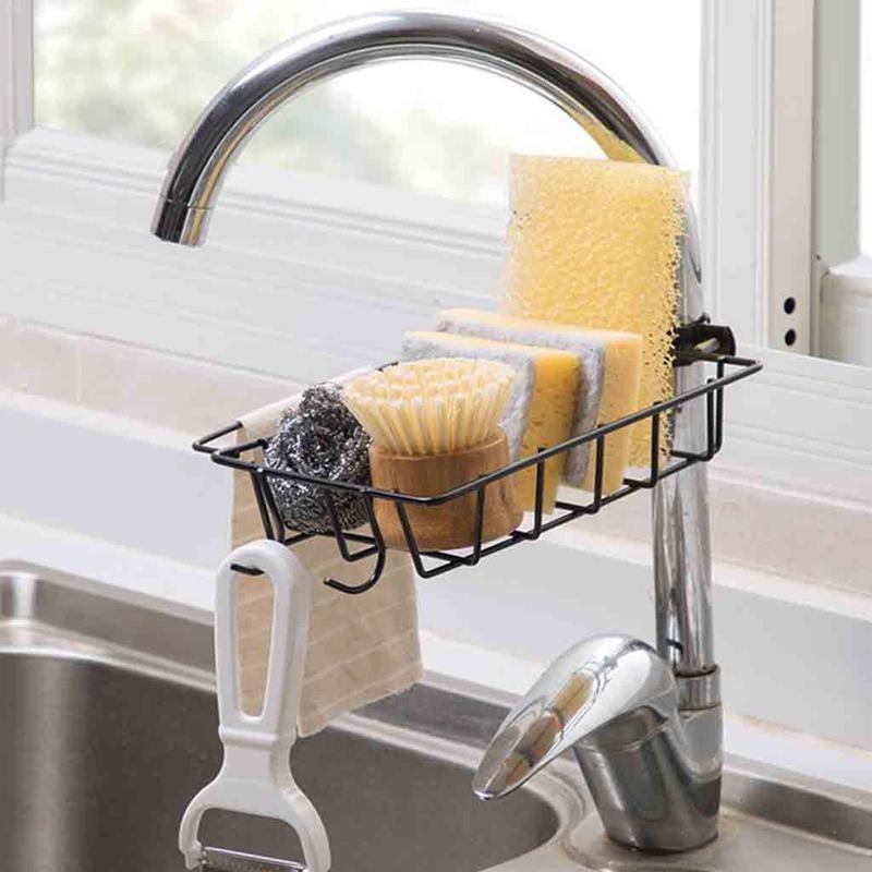 1X-Kitchen-EVier-EPonge-Drain-Rack-Robinet-De-Fer-Rack-De-Stockage-De-Pisci-J5G2 miniature 4