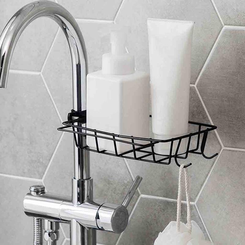 1X-Kitchen-EVier-EPonge-Drain-Rack-Robinet-De-Fer-Rack-De-Stockage-De-Pisci-J5G2 miniature 6