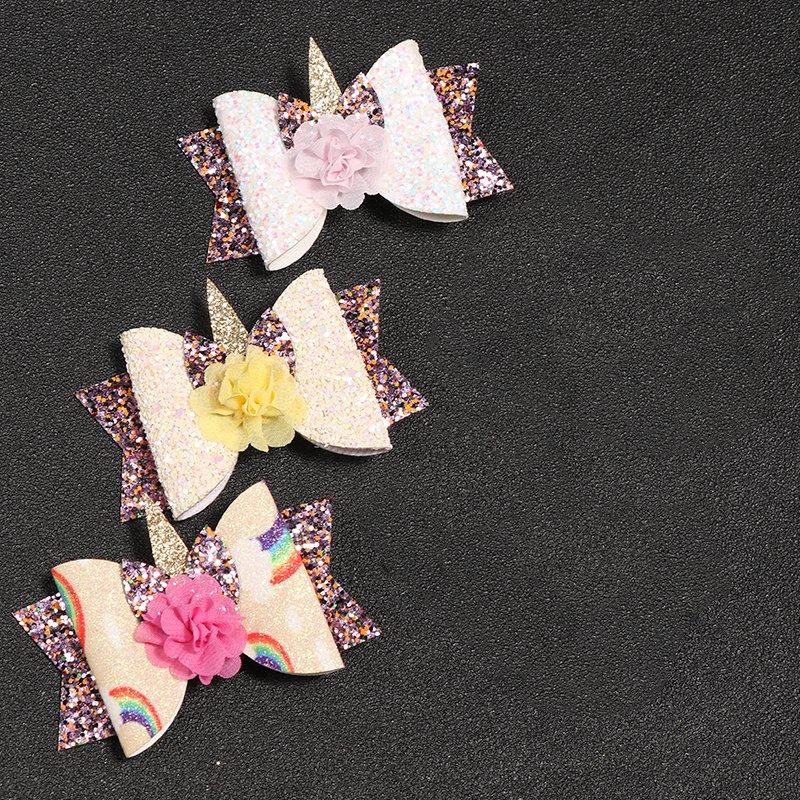 2X-Bowknot-Princesse-Pinces-A-Cheveux-Glitter-Cheveux-Arc-En-Ciel-Fleurs-Ar-D3J2 miniature 5
