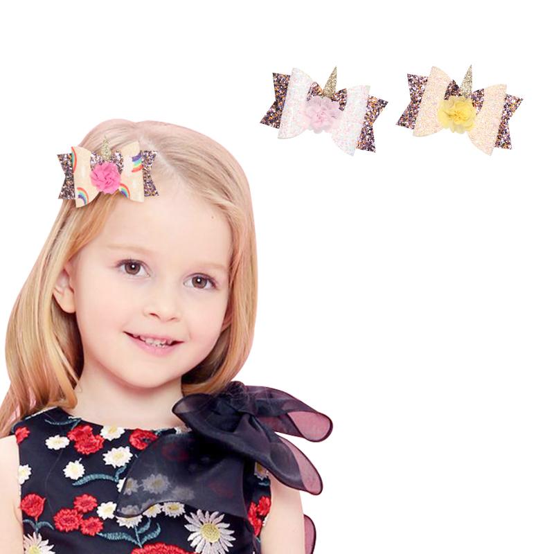 2X-Bowknot-Princesse-Pinces-A-Cheveux-Glitter-Cheveux-Arc-En-Ciel-Fleurs-Ar-D3J2 miniature 7