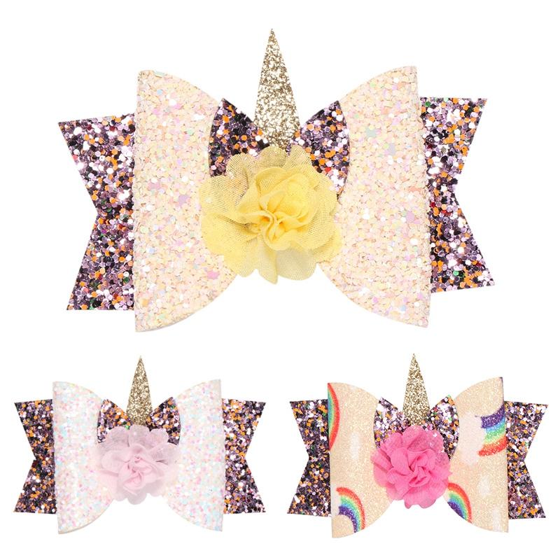 2X-Bowknot-Princesse-Pinces-A-Cheveux-Glitter-Cheveux-Arc-En-Ciel-Fleurs-Ar-D3J2 miniature 18