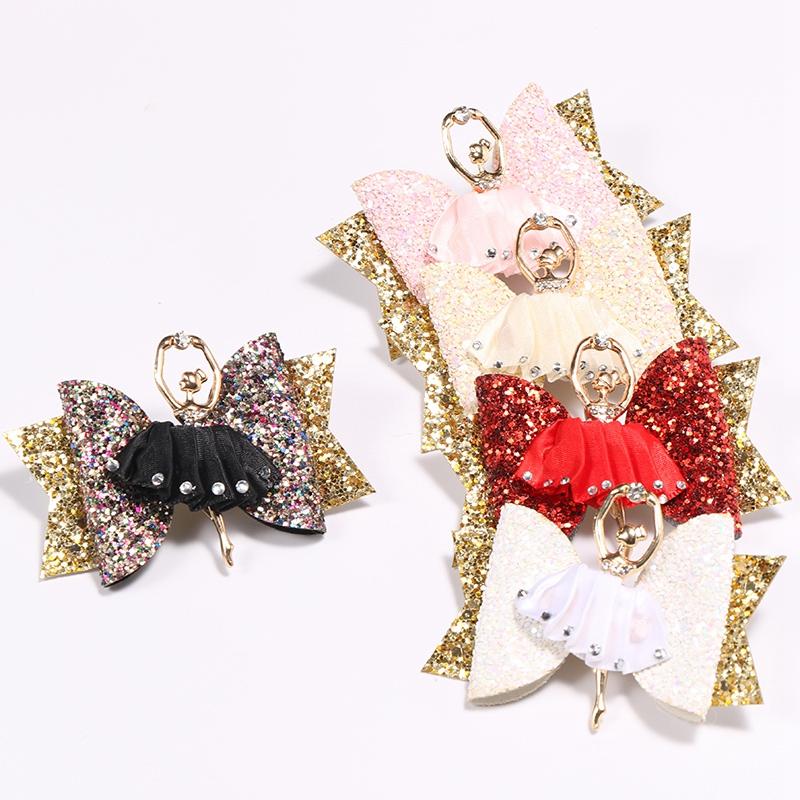 1X-Strass-Ballet-Fille-En-Epingle-A-Cheveux-Arcs-Avec-Des-Clips-Flash-Paill-W6W7 miniature 4