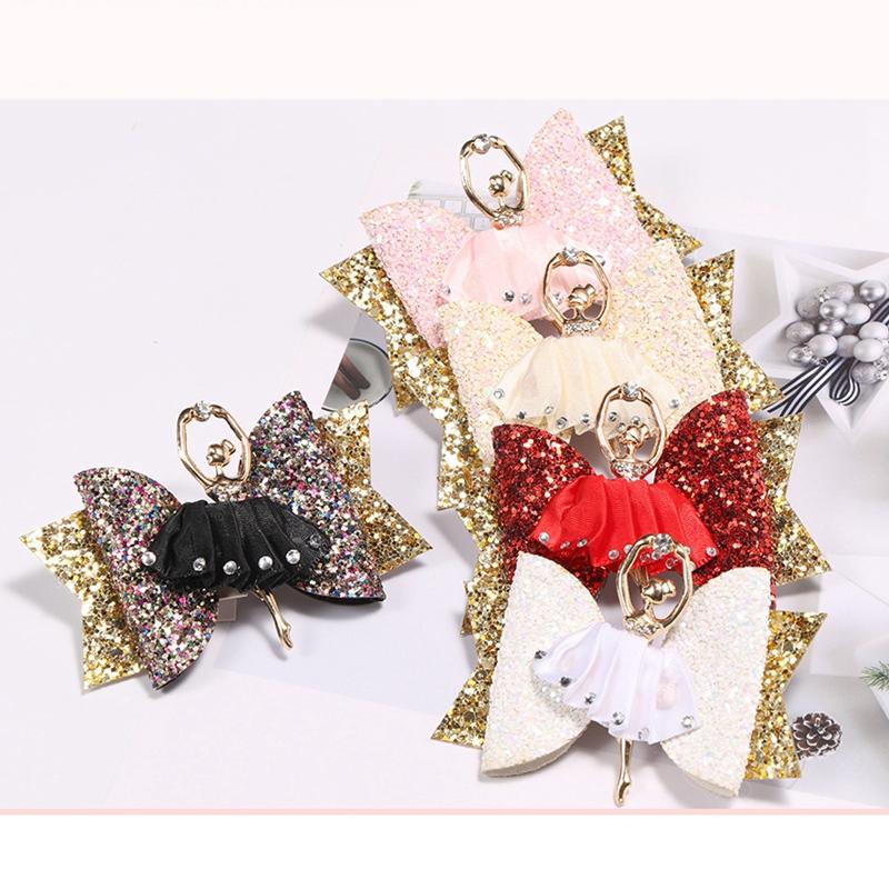 1X-Strass-Ballet-Fille-En-Epingle-A-Cheveux-Arcs-Avec-Des-Clips-Flash-Paill-W6W7 miniature 5