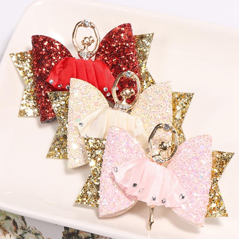 1X-Strass-Ballet-Fille-En-Epingle-A-Cheveux-Arcs-Avec-Des-Clips-Flash-Paill-W6W7 miniature 10
