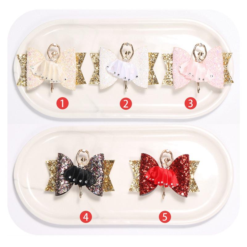 1X-Strass-Ballet-Fille-En-Epingle-A-Cheveux-Arcs-Avec-Des-Clips-Flash-Paill-W6W7 miniature 11