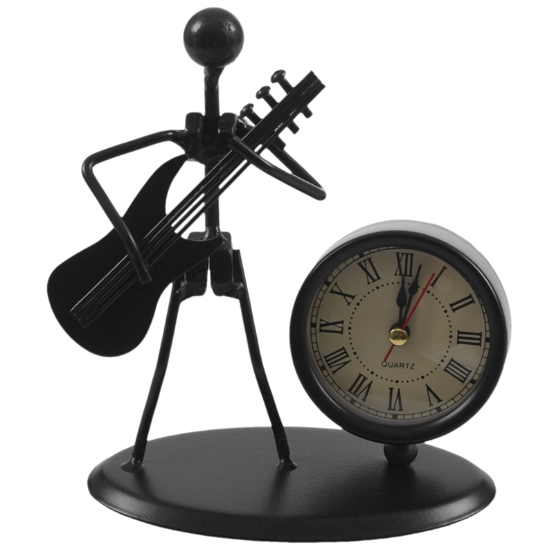 Retro-Musicista-Di-Modello-Di-Chitarra-Elettrica-con-Numeri-Romani-Clock-Ar-T9T1