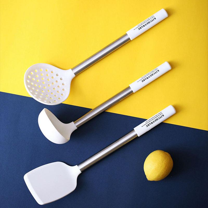 Indexbild 10 - Kuechen-Utensilien-Set-Edelstahl-Metall-Griff-Kochen-Werkzeuge-Koch-Geschirr-I9E5
