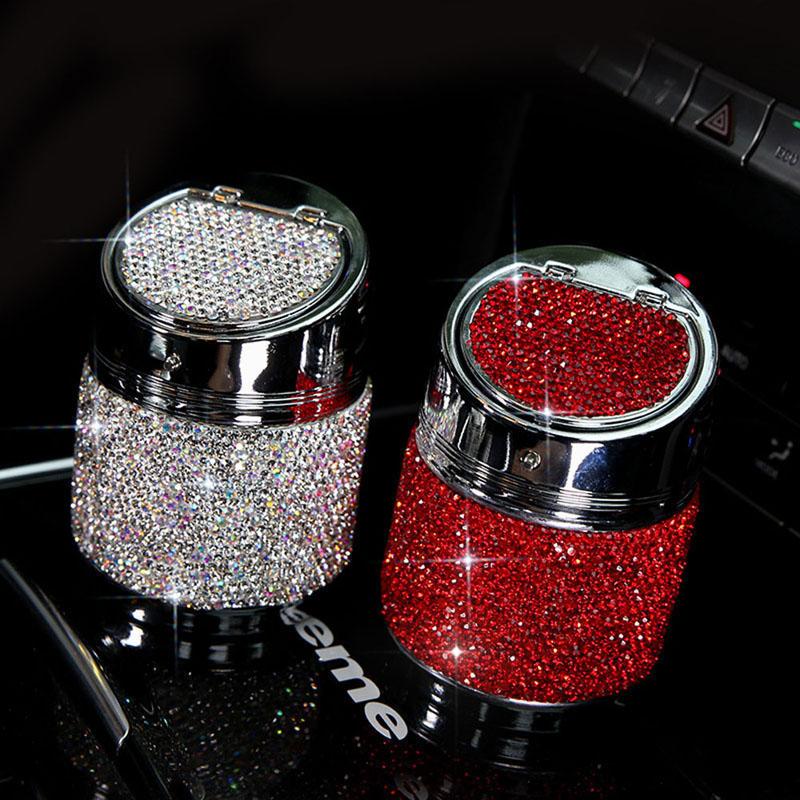 Diamant-Auto-Aschenbecher-Shiny-Auto-Aschenbecher-mit-Abdeckung-fuer-Auto-Gr-H4J8 Indexbild 4