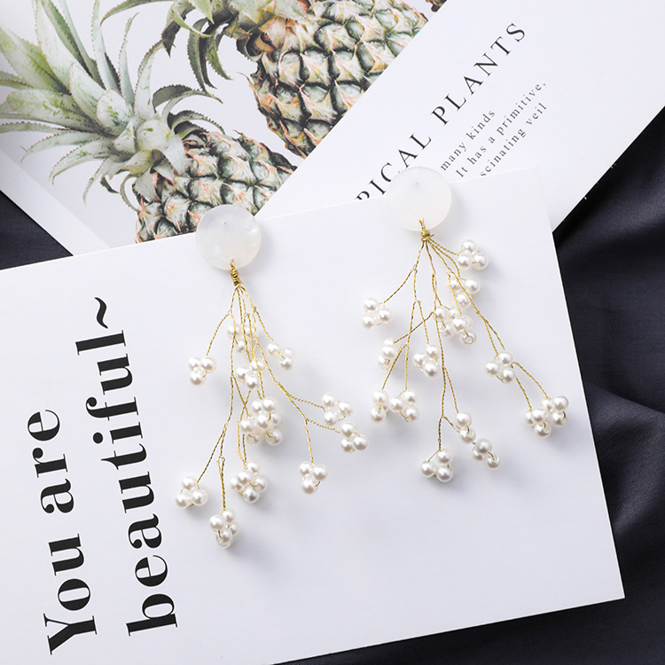 Minimalista-Golden-Long-Branch-Pearl-Pendant-Pendientes-Ladies-Chic-Flower-B9S8 miniatura 4