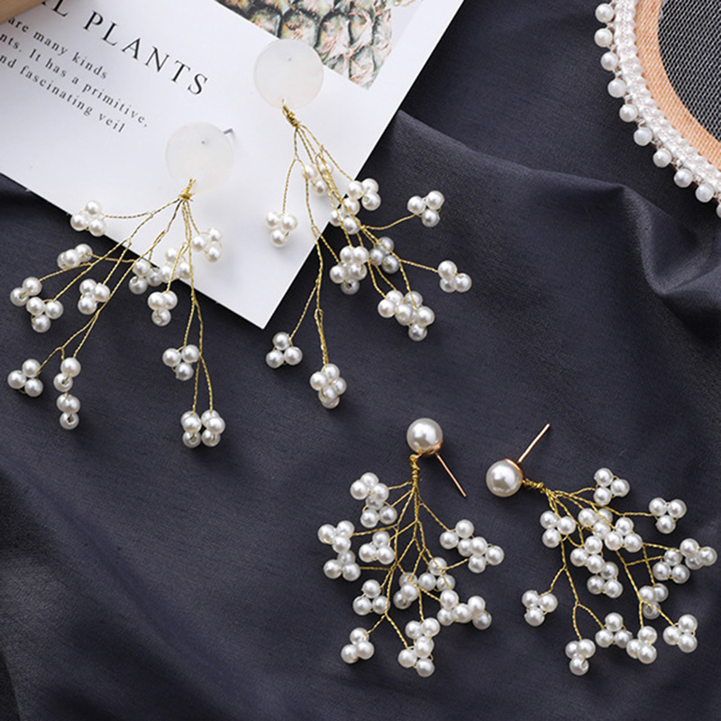 Minimalista-Golden-Long-Branch-Pearl-Pendant-Pendientes-Ladies-Chic-Flower-B9S8 miniatura 7