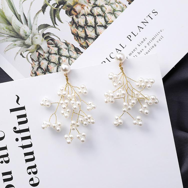Minimalista-Golden-Long-Branch-Pearl-Pendant-Pendientes-Ladies-Chic-Flower-B9S8 miniatura 10